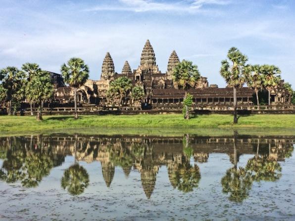 The iconic reflective shot of Angkor Wat.