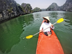 Kayaking was my favorite part of the Ha Long Bay experience. You feel a lot smaller than when you're on a boat.